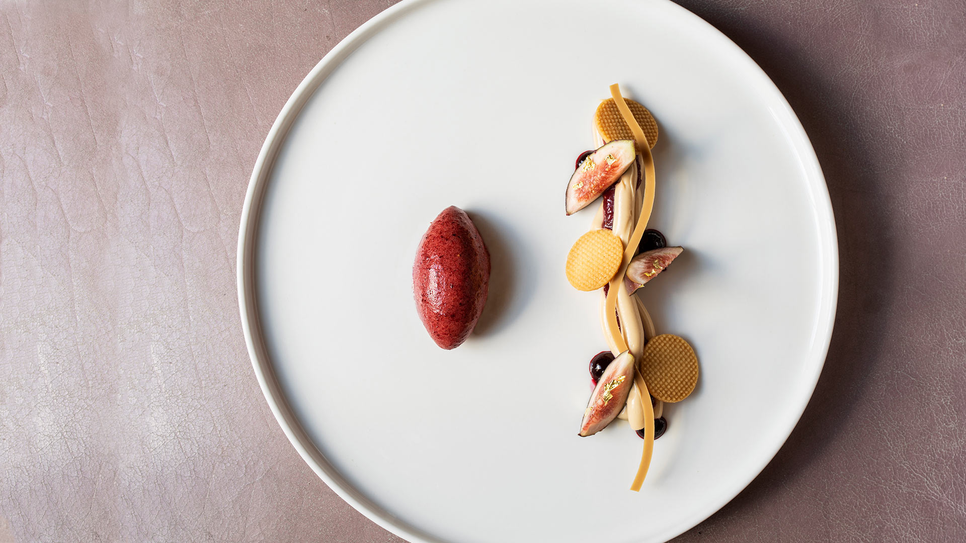 Fig-and-blackcurrant-sorbet,-caramelised-white-chocolate-cream-and-crunchy-almond-1920x1080