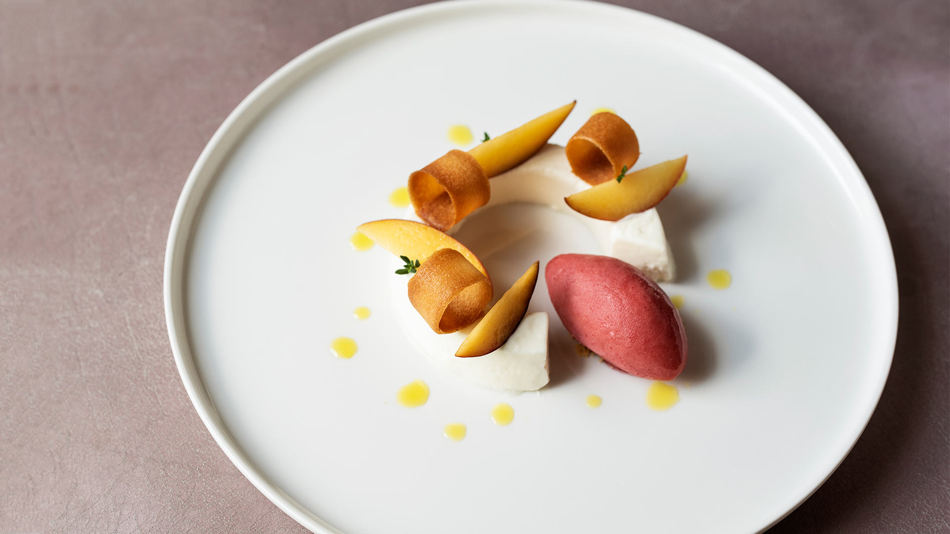 Skyr-and-thyme-mousse,-tuile-biscuit-and-peche-de-vigne-sorbet-1920x1080